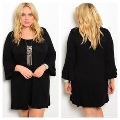 """Black dress (1x 2x 3x) Black dress  Length- 1x/2x: 36"""" • 3x: 37"""" Materials- 65% rayon/ 35% viscose. Perfect for holiday parties! The sleeves are slightly ruffled. This dress has great stretch to it.  NWOT. Brand new without tags. Availability- 1x•2x•3x • 1•1•2 PLEASE do not purchase this listing. Price is firm unless bundled. No tradesL30 Boutique Dresses Long Sleeve"""