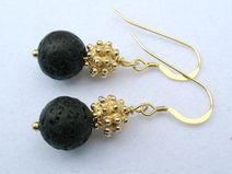 Golden Earrings with black lava