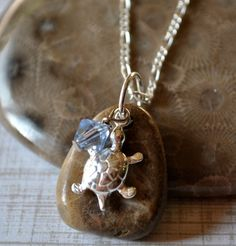 Petoskey Stone necklace with sterling silver turtle by Beechtree, $36.00