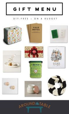 Around the Table gift menu - DIY free + on a budget.