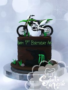 Axel's dirt bike first birthday cake | Made by Sweet By Nature, VIC