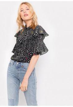 Celeste Black Ruffle Shirt