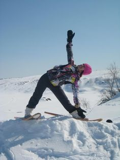 snowshoe and yoga! check out the old school snowshoes!