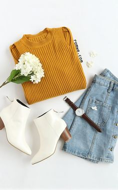 Cool Street Style - Yellow Cut Out Slit Side Cuffed Sweater