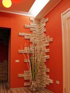 Foyer Design, Home Room Design, Ceiling Design, Home Interior Design, Stone Interior, Home Decor Furniture, Diy Home Decor, Room Partition Designs, Living Room Decor