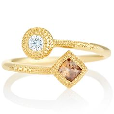 Talisman rough and polished diamond ring in yellow gold