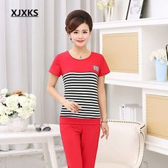 XJXKS Summer Suits Big Size Casual Women O-Neck Short Sleeve 4 Color Striped T-Shirts Pullover Plus Pants Two Piece Set SH806