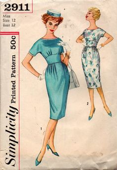 Simplicity 2911 Womens Sheath Dress with Midriff Band 50s Vintage Sewing Pattern Size 12 Bust 32 inches
