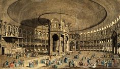 When the theatrical entrepreneurs and MP Sir Thomas Robinson bought the house and grounds belonging to the late Earl of Ranelagh they wanted something that would give their new venture the edge over the already established Vauxhall Gardens, south of the river but not too far away. The Rotunda was their answer. The domed structure was the same size as the Pantheon in Rome. Inside there was room for music, dancing, refreshments, & strolling.
