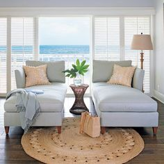 One does not merely sit in a chaise longue, one lounges. Which could be why it is mistakenly called a chaise lounge. Coastal Living Rooms, Coastal Homes, Coastal Decor, Coastal Style, Coastal Furniture, Coastal Cottage, Coastal Living Magazine, Coastal Curtains, Coastal Entryway