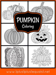 Pumpkin Coloring Pages for Adults or Kids Pumpkin Coloring Pages, Printable Coloring Pages, Coloring Pages For Kids, Coloring Worksheets, Theme Halloween, Halloween Crafts, Halloween Games, Fall Arts And Crafts, Autumn Activities For Kids