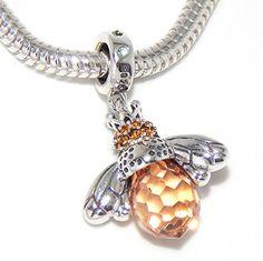 "925 Sterling Silver Dangling ""Orange Crystal Queen Bee"" Charm Bead Fits PANDORA Charms http://www.amazon.com/dp/B014EBCPU8/ref=cm_sw_r_pi_dp_8zyiwb063BAFF"