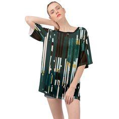 Jungle Stripe Oversized Chiffon Top Chiffon Fabric, Chiffon Tops, Cover Up, Casual, Color, Dresses, Fashion, Vestidos, Moda