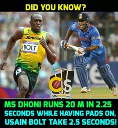 Msd is as fast as Hussain bolt True Interesting Facts, Interesting Facts About World, Intresting Facts, Crickets Funny, Premier League, Dhoni Quotes, Ms Dhoni Wallpapers, Cricket Quotes, Ms Dhoni Photos