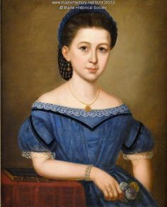 Girl in a blue dress, ca. 1860. Item # 26553 on Maine Memory Network