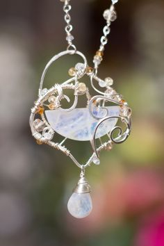 Collier pierre de lune citrine tourmaline . Aurora .