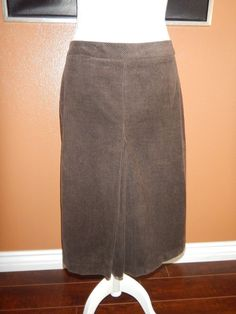 J Crew Women's Dark Chocolate Brown Corduroy Skirt Size 4 #JCrew #ALine