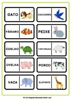 Animais - Jogo de Dominó em Português | TpT English Activities For Kids, English Worksheets For Kids, Sheep Pig, Easel Activities, English Language Learning, Teacher Favorite Things, Learning Resources, Teacher Newsletter, Teacher Pay Teachers