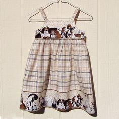 Puppy Love Border Dress size 2 Toddler Last One by ArtsyCrafty, $22.00