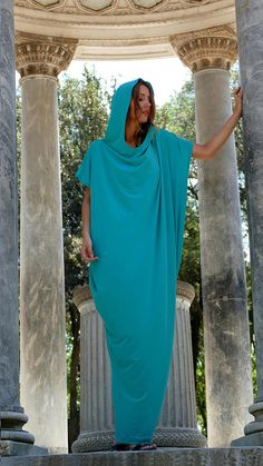 Hooded Maxi Dress Maxi Dress Blue Dress Plus Size Dress