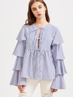 To find out about the Blue Striped Tie Front Layered Ruffle Sleeve Babydoll Blouse at SHEIN, part of our latest Blouses ready to shop online today! Casual Chic, Casual Elegance, Estilo Cool, Mode Chic, Mode Hijab, Blouse Designs, Blouses For Women, Designer Dresses, Nice Dresses