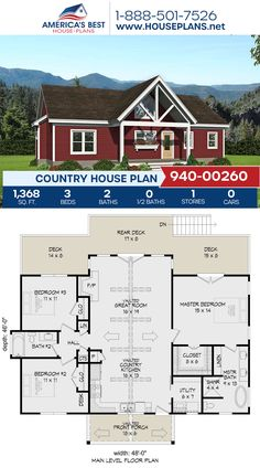 Complete with 1,368 sq. ft., Plan 940-00260 details a Country home with 3 bedrooms, 2 bathrooms, vaulted ceilings, and an open floor plan. #countryhome #architecture #houseplans #housedesign #homedesign #homedesigns #architecturalplans #newconstruction #floorplans #dreamhome #dreamhouseplans #abhouseplans #besthouseplans #newhome #newhouse #homesweethome #buildingahome #buildahome #residentialplans #residentialhome Best House Plans, Country House Plans, Dream House Plans, Floor Plan Drawing, Construction Cost, Vaulted Ceilings, House Stairs, Build Your Dream Home, Private Garden