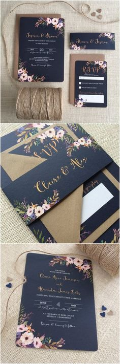 Floral Bloom Wedding Invitation with matching RSVP