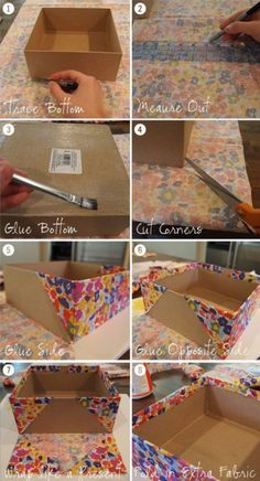 Think outside the box with these cardboard crafts. Think outside the box with these cardboard crafts Diy Storage Boxes, Fabric Storage Bins, Craft Storage, Fabric Covered Boxes, Fabric Boxes, Diy Crafts Hacks, Diy Home Crafts, Upcycled Crafts, Cardboard Box Crafts