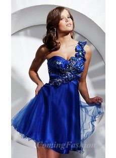 A-Line Strapless Blue Organza Homecoming Dress Coming00227