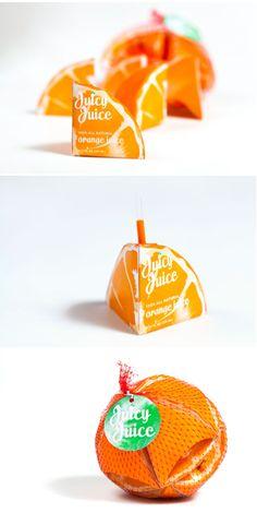 Packaging de produit - Brique de jus d'orange en forme de quartier