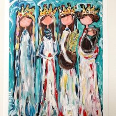The Four Tricia Robinson print of Tamar, Rahab, Ruth, & Bathsheba I LOVE this! Jesus Family Tree, Advent Images, Grace Symbol, God Made Girls, Karla Gerard, Acrylic Artwork, Daughters Of The King, Beach Print, Learn To Paint