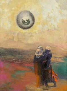 Odilon Redon (1840-1916) The Black Sun (c. 1900 )oil with incising on board 32…