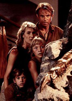 "Sam Neill, Laura Dern, Ariana Richards y Joseph Mazzello en ""Parque Jurásico"" (Jurassic Park), 1993"