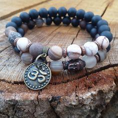 Yoga Buddha Wrist Mala Bracelet Stackings Om by BohemianChicbead