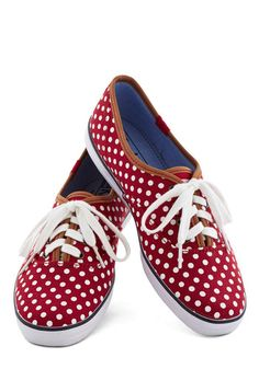 Night Classics Sneaker by Keds - Flat, Woven, Red, White, Polka Dots, Casual, Good, Lace Up