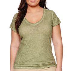 a.n.a® Short-Sleeve V-Neck Cotton Tee - Plus - JCPenney