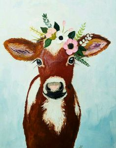 Art - Cow with flowers  -  Cow painting on canvas, Calf painting, Original oil painting. Canvas by zuhalkanar on Etsy https://www.etsy.com/listing/534959017/cow-painting-on-canvas-calf-painting