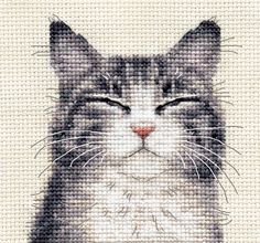 GREY TABBY CAT, KITTEN ~ Full counted cross stitch kit + All materials