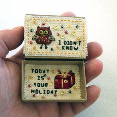 Greeting Card Matchbox Happy Birthday Card Matchbox Owl