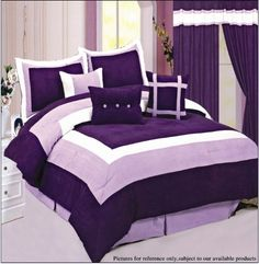 Purple Bedroom Decor with Purple Bedding and Comforter Sets Purple Bedspread, Purple Comforter, Purple Bedding Sets, Purple Bedrooms, Lavender Comforter, Fur Comforter, Queen Size Comforter Sets, King Size Comforters, Bedroom Sets