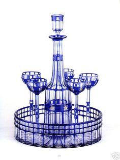 Lovely crystal glass cocktail set by Otto Prutcher for Wiener Werkstadte, 1909 Art Nouveau, Art Deco, Cobalt Glass, Turquoise Glass, Cobalt Blue, Cut Glass, Glass Art, Antique Glass, Glass Design