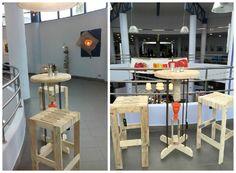 Table Haute Et Deux Tabourets / Pallet Bar Table And Two Stools