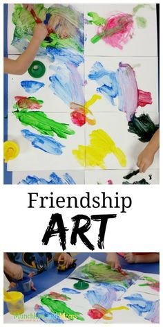 "Art - Munchkins and Moms Friendship Art- a cooperative art activity for preschoolers! great for the first week of school ""friends"" theme!Friendship Art- a cooperative art activity for preschoolers! great for the first week of school ""friends"" theme! Preschool Art Projects, Preschool Art Activities, Preschool Lessons, Preschool Activities, Preschool Family Theme, Therapy Activities, Preschool Art Display, Preschool First Week, Manners Preschool"