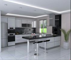 Superb White _ Black Kitchen