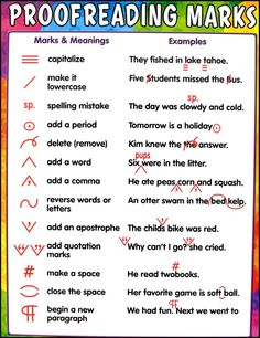 Proofreading Marks Chart (028747) Details - Rainbow Resource ...