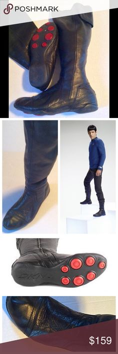 DKNY soft leather moto boots Excellent condition! Very similar to those worn on Star Trek. Very rare and hard to find, especially in this great of condition. Zips in back with Velcro at top. DKNY Shoes Combat & Moto Boots
