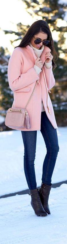 Peacoats + Dark denim + Sunnies + Ankle booties Blushing… http://www.pinkpeonies.com/blushing-2/