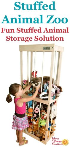 The Stuffed Animal Zoo is a fun way to store your child's stuffed animals right in their bedroom or playroom, to keep these toys contained while also allowing your child to access the stuffies to play with when they want {featured on Home Storage Solutions 101} #StuffedAnimalZoo #StuffedAnimalStorage #StuffedAnimalOrganization