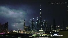 A man records lightning striking Dubai during a series of storms.