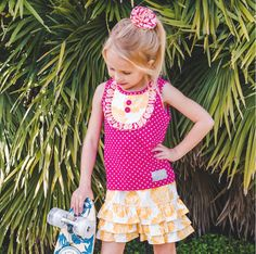 This vintage style girls summer set is sure to please as it's Hawaiian Punch color combo is looking so cute and comfy.  $20 for the top and $22 for the shorties.  This set comes in sizes 12 months to size 10-12 girls. Buy here.